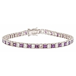 Diamond Essence and Amethyst  Essence princess cut tennis bracelet, each stone of 0.20 ct. in alternate setting in Platinum Plated Sterling Silver. 10.4 cts.t.w.