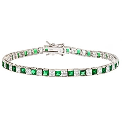 Diamond Essence and Emerald Essence princess cut tennis bracelet, each stone of 0.20 ct. in alternate setting in Platinum Plated Sterling Silver. 10.4 cts.t.w.