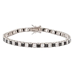 Diamond Essence and Onyx Essence princess cut tennis bracelet, each stone of 0.20 ct. in alternate setting in Platinum Plated Sterling Silver. 10.4 cts.t.w.