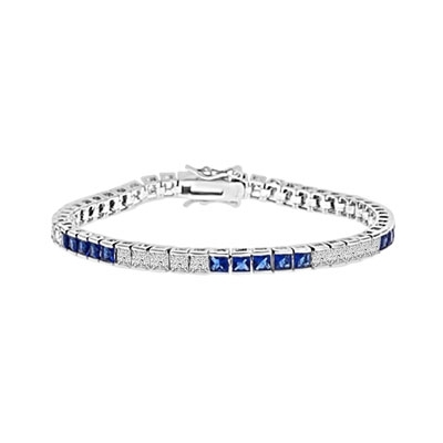 Diamond Essence and Sapphire Essence princess cut tennis bracelet, each stone of 0.20 ct. set in alternate group of 5 stones. 10.4 cts.t.w. in Platinum Plated Sterling Silver.