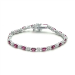 Diamond Essence Alternate Bracelet With Marquise Cut Ruby Essence and Round Brilliant Stone In Platinum Plated Sterling Silver.