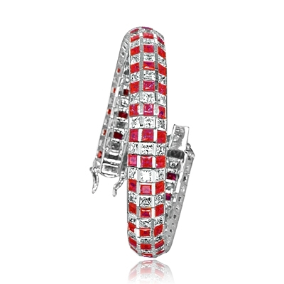 "7"" long Lovely best selling bracelet with 23.25 cts.t.w. of square Ruby Essence and white princess cut stones in Platinum Plated Sterling Silver."
