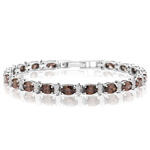 Diamond Essence Designer Bracelet With Oval chocolate And Round Brilliant Stones, 12.50 Cts.T.W. In Platinum Plated Sterling Silver.