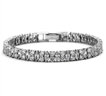 Diamond Essence Designer Bracelet With Marquise And Round Stones, 14 Cts.T.W. In Platinum Plated Sterling Silver.