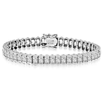 "Platinum Plated Sterling Silver bracelet, 7"" long, encompasses Diamond Essence Princess cut stones. 7.0 cts.t.w."