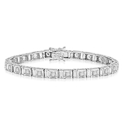 "7"" long stunning design bracelet with Diamond essence emerald cut baguettes and round brilliant Diamond Essence masterpieces set in ethnic setting of Platinum Plated Sterling Silver. Appx. 9.0 cts.t.w."