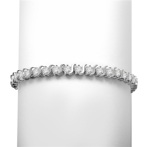 "7"" long S-Curves Bracelet with Round Brilliant Diamond Essence Stones, 7.50 Cts. T.W. in Platinum Plated Sterling Silver."