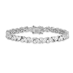 Diamond Essence Designer Bracelet With Round And Marquise Stones set alternate in prong setting of Platinum Plated Sterling Silver, 10.0 Cts.t.w.