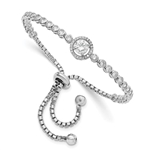 Diamond Essence Halo Setting Adjustable Bracelet, 4.0 Cts.t.w set in Platinum Plated Sterling Silver.