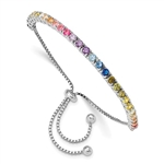 Diamond Essence Adjustable Bracelet With Multi Color Round Brilliant Stones in prong setting of Platinum Plated Sterling Silver, 5.0 Cts.t.w.