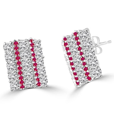 supreme silver with ruby & white round diamond