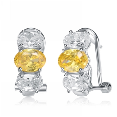Diamond Essence Designer Earrings with Oval cut Canary Essence in center accompanied by Oval cut Diamond Essence on each side set in Platinum Plated Sterling Silver.