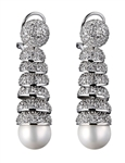 Beautiful drop earring, Diamond Essence melee in pave setting artistically set on graduating dorm style. 7 mm Pearl hanging at each end. 3.0 cts.t.w. in Platinum Plated Sterling Silver.