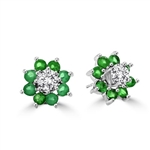 Diamond Essence Platinum Plated Sterling Silver Stud Earrings 0.50 Ct. Each, with Emerald Essence set in Jackets, 2.60 Cts.T.W.