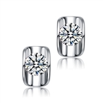 Diamond Essence 1.50 Cts. each, Round Brilliant Stone Set in Platinum Plated Sterling Silver, Artistically Curved Tension Setting, 3.0 Cts. T.W.