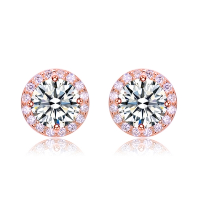 Diamond Essence Stud Earrings With 2 Cts. Round Brilliant Center Surrounded By Melee,4.50Cts.T.W. In Rose Plated Sterling Silver.