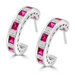 Beautiful hoop earrings in Platinum Plated Sterling Silver, with alternate Ruby Essence and Diamond Essence Princess cut stones, 0.20 cts. each set channel set. 5.6 cts.t.w.
