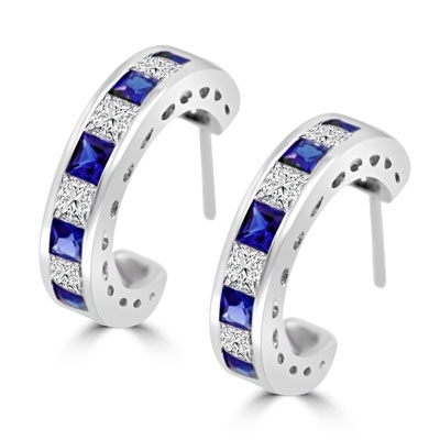 Beautiful hoop earrings in Platinum Plated Sterling Silver, with alternate Sapphire Essence and Diamond Essence Princess cut stones, 0.20 cts. each set channel set. 5.6 cts.t.w.