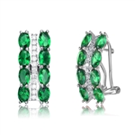 Diamond Essence Designer Earrings with 0.25 carat each Emerald Color Oval Cut stone and Diamond Essence melee set in vertical designer pattern, 4.20 Cts..T.W. in Platinum Plated Sterling Silver.