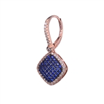 Diamond Essence Leverback earrings with Sapphire Essence melee in pave setting, outlined with Diamond Essence melee, 1.5 Cts.T.W in Rose Plated Sterling Silver.