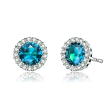 Diamond Essence Halo Setting Platinum Plated Sterling Silver Earrings, with 1 Ct. each Blue Topaz Essence surrounded  by Brilliant Melee, 2.25 Cts.T.W.
