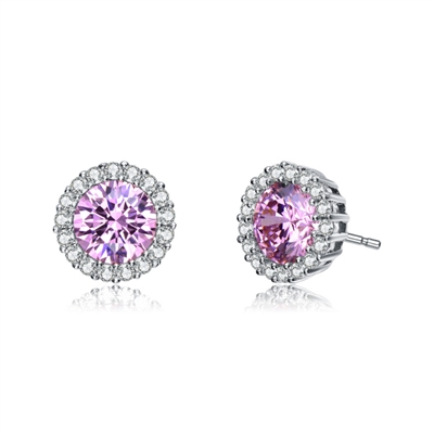 Diamond Essence Halo Setting Platinum Plated Sterling Silver Earrings, with 1 Ct. each Pink Essence surrounded  by Brilliant Melee, 2.25 Cts.T.W.