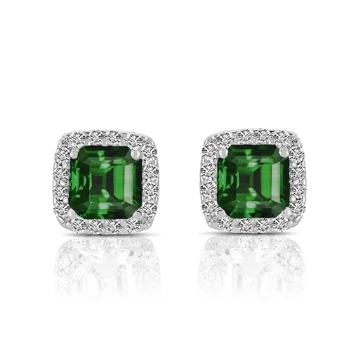 Designer Stud Earrings. One carat Emerald Essence Asscher cut stone in four prongs setting and surrounded by Diamond Essence melee. 3.0 cts.t.w. in Platinum Plated Sterling Silver.