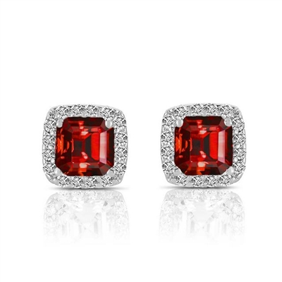 Designer Stud Earrings With 1 Cts.T.W. Ruby Essence Asscher cut stone in four prongs setting and surrounded by Diamond Essence melee,3 Cts.T.W. in Platinum Plated Sterling Silver.