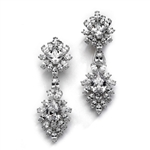 Diamond Essence Cocktail Earrings, 16.0 Cts.T.W. with Pear, Princess, Marquise And Oval Stones, in Platinum Plated Sterling Silver.