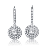 Beautiful Leverback earrings, 1.25 Ct. Diamond Essence in four prongs settings, surrounded by round melee. Appx. 4.50 Cts. T.W. set in Platinum Plated Sterling silver.