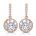 Designer Drop Earring. Diamond Essence round brilliant 4.0 carat stone set in four prongs and surrounded by melee. Hanging from bar set with melee. 10.0 cts.t.w. in Rose Plated Sterling Silver.