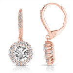 Diamond Essence leverback earrings, 1.5 carat each, round brilliant stone surrounded by melee. and melee on leverback also for additional sparkle. 4.0 cts. t.w. in Rose Plated Sterling Silver.
