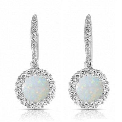 Diamond Essence Leverback Earrings With 1 Ct.Opal Stone Surrounded By Melee And Melee On the Bail,2.50 Cts.T.W. In Platinum Plated Sterling Silver.