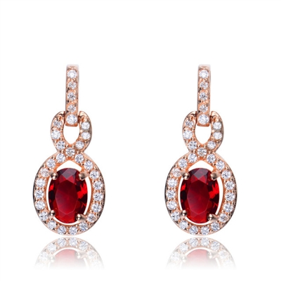 Designer Earring with 1.0 CT Ruby Essence in the center. Round brilliant melee on the bail and surrounding center stone with interwined design. 1.75 cts.t.w. in Rose Plated Sterling Silver. ( Matching Pendant item# SPC6600RR)