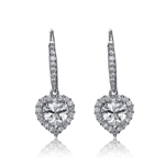 Diamond Essence leverback earrings, 1.5 carat each, Heart stone surrounded by melee. and melee on leverback also for additional sparkle. 4.0 cts. t.w. in Platinum Plated Sterling Silver.