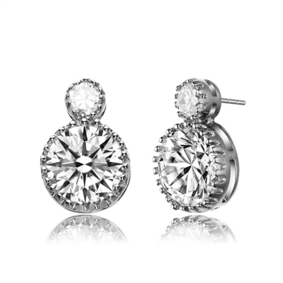 Diamond Essence Earrings With 0.5 Ct. And 5 Cts. Round Brilliant Stone Set in Crown Setting, 11 Cts.T.W. In Platinum Plated Sterling Silver.