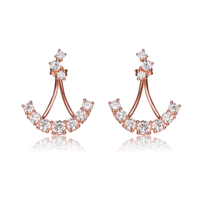 Diamond Essence  Rose Gold Anchor Shaped Earrings In Sterling Silver - SEC8718R