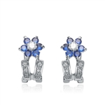 Diamond Essence Platinum Plated Sterling Silver Clip On Earrings with Sapphire Essence Floral Design, 1.20 Cts.T.W.