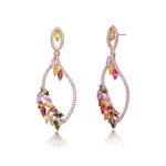 Diamond Essence Designer Earring with Multi color Marquise Stones- Ruby, Peridot, Pink, Yellow Sapphire, 0.20 Ct. each, set artistically in Rose Plated Sterling Silver, 7.0 Cts.t.w.
