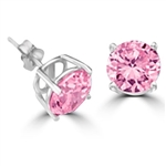 pink diamond gems earrings in platinum plated silver