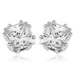 Princess cut square stone stud earrings in silver