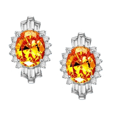 Diamond Essence Earrings in Platinum Plated Sterling Silver with 4 ct. Canary Essence center in four prongs setting. Baguettes and round stones on either side makes it designer wear. 10 cts.t.w.