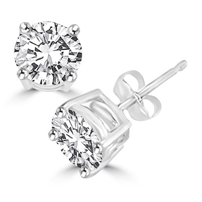 Diamond Essence Ear studs, 0.75 carat each, set in Platinum Plated Sterling Silver prongs settings, 1.50 Cts.T.W.