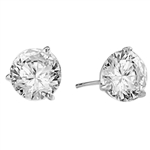 Pair of Studs in three prongs Martini Setting, Round Diamond Essence in each stud. 4.0 Cts T.W. set in Platinum Plated Sterling Silver.