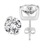 Diamond Essence stud in a two-bar tension setting, round brilliant stones 1.0 ct. each in Platinum Plated Sterling Silver. Choice of 2.0 cts. available.