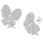 PlatinumPlated Sterling Silver butterfly earring with marquise cut