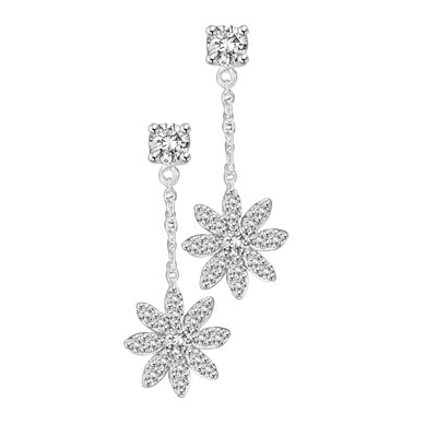 "Platinum Plated Sterling Silver, 1-1/4"" long dangling earring feature at each ear, a meltingly beautiful snowflake made up of delicate round cut Diamond Essence masterpieces drifting down from round brilliant cut stones at the top. 2.20 cts.t.w."