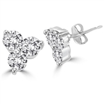 Platinum plated silver earring with floral setting in 3 round stones