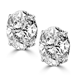 1.0 ct oval-cut brilliant classic studs in silver earrings