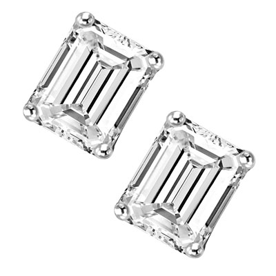 1 ct.Emerald Studs Platinum Plated Sterling Silver